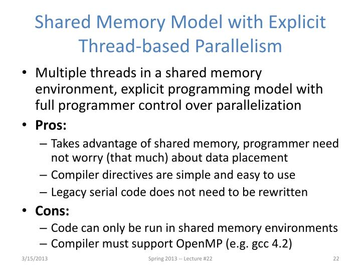 Shared Memory Model with Explicit Thread-based Parallelism