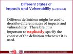 different states of impacts and vulnerability continued