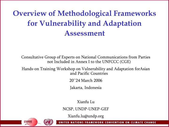 overview of methodological frameworks for vulnerability and adaptation assessment n.