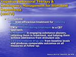 cognitive behavioral therapy contingency management for stimulant dependence cont d