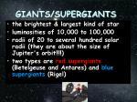 giants supergiants