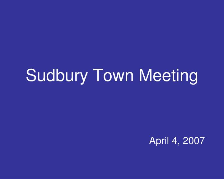 sudbury town meeting n.