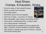 heat stress cramps exhaustion stroke