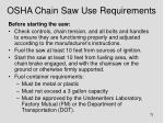 osha chain saw use requirements