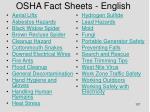 osha fact sheets english