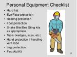 personal equipment checklist