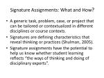 signature assignments what and how