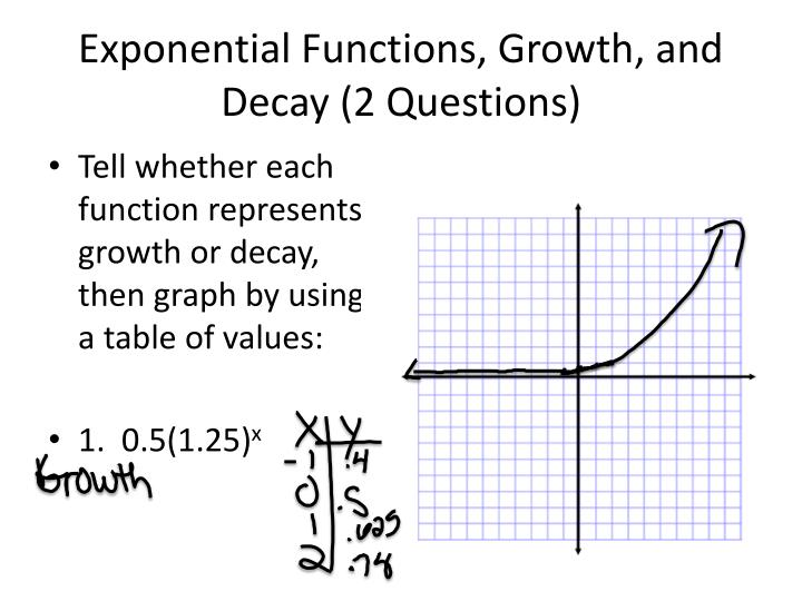 exponential functions growth and decay 2 questions n.