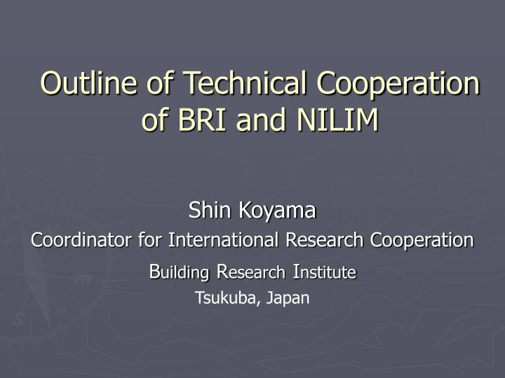outline of technical cooperation of bri and nilim n.