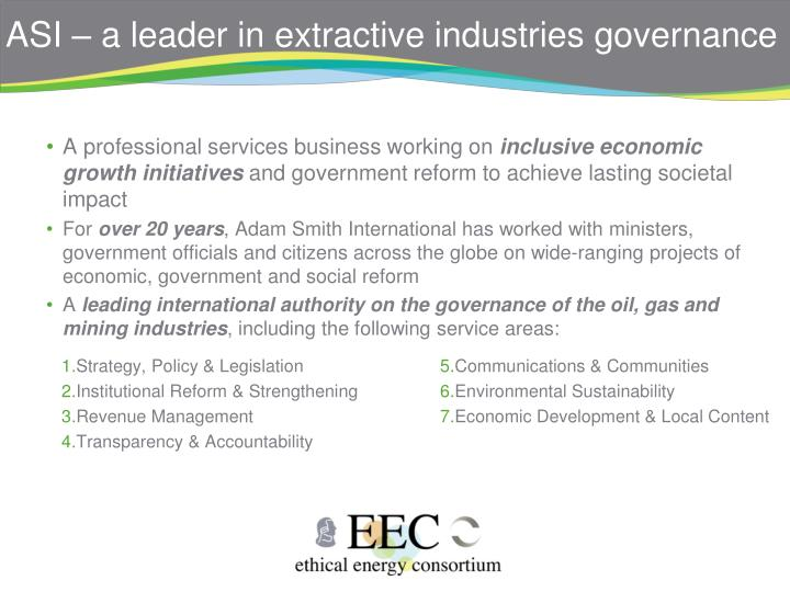 ASI – a leader in extractive industries governance