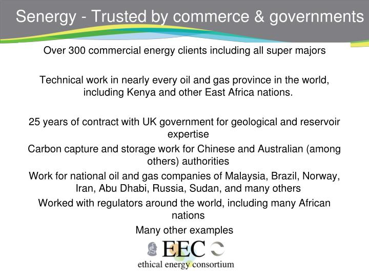 Senergy - Trusted by commerce & governments