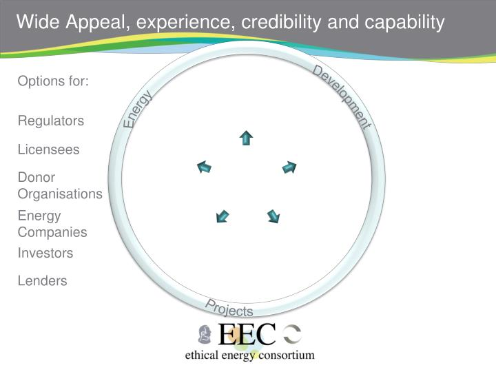 Wide Appeal, experience, credibility and capability