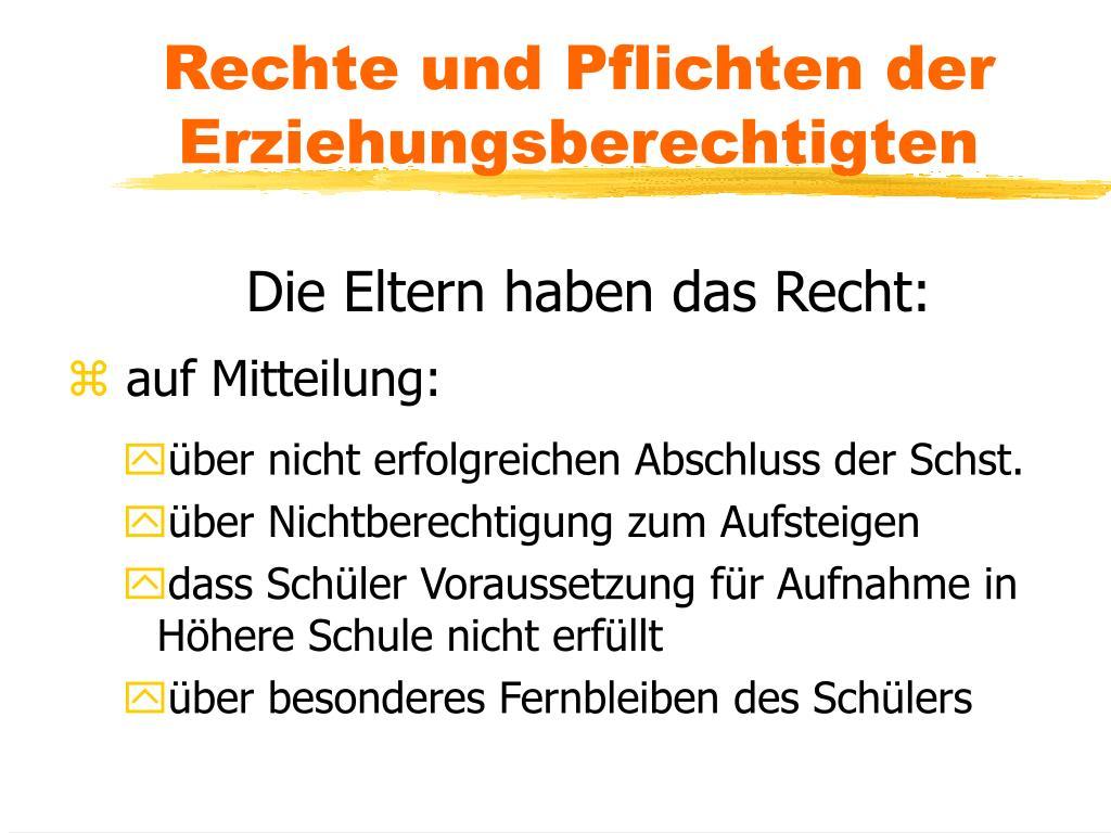 PPT - RECHTE UND PFLICHTEN IN DER SCHULE PowerPoint