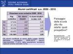 alunni certificati a s 2009 2010