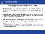 impegni previsti con il pssr 2010 2012