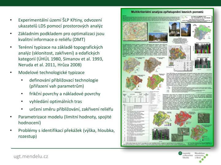 Experimentální území ŠLP Křtiny, odvození ukazatelů LDS pomocí prostorových analýz