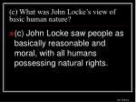 c what was john locke s view of basic human nature