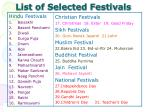list of selected festivals