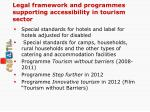 legal framework and programmes supporting accessibility in tourism sector