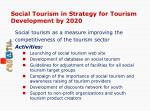 social tourism in strategy for tourism development by 2020