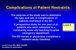 complications of patient restraints