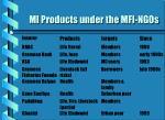 mi products under the mfi ngos