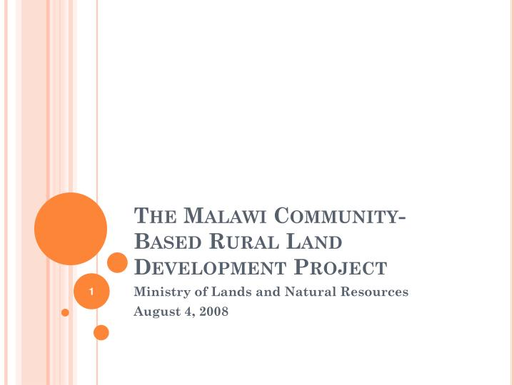 the malawi community based rural land development project n.
