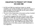 equation to predict opt from soi and dmi