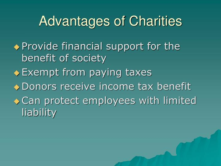 Advantages of Charities