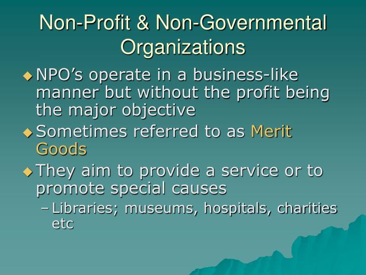 Non profit non governmental organizations