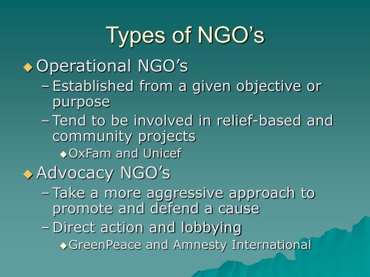 Types of NGO's