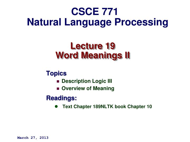 lecture 19 word meanings ii n.
