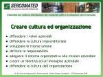 creare cultura ed organizzazione