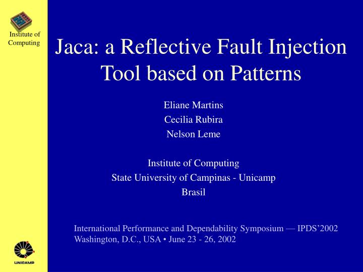 jaca a reflective fault injection tool based on patterns n.