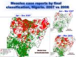 measles case reports by final classification nigeria 2007 vs 2008