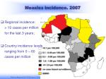measles incidence 2007