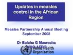 updates in measles control in the african region