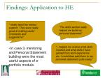 findings application to he