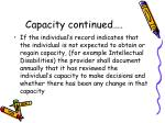 capacity continued