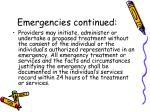 emergencies continued