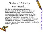 order of priority continued
