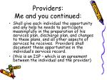 providers me and you continued1
