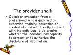 the provider shall
