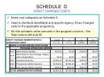 schedule d direct charged costs
