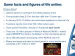 some facts and figures of life online