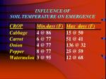 influence of soil temperature on emergence