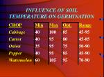 influence of soil temperature on germination