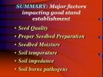 summary major factors impacting good stand establishment