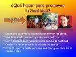 qu hacer para promover la santidad
