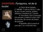 dionysos pyrisporos n de la foudre